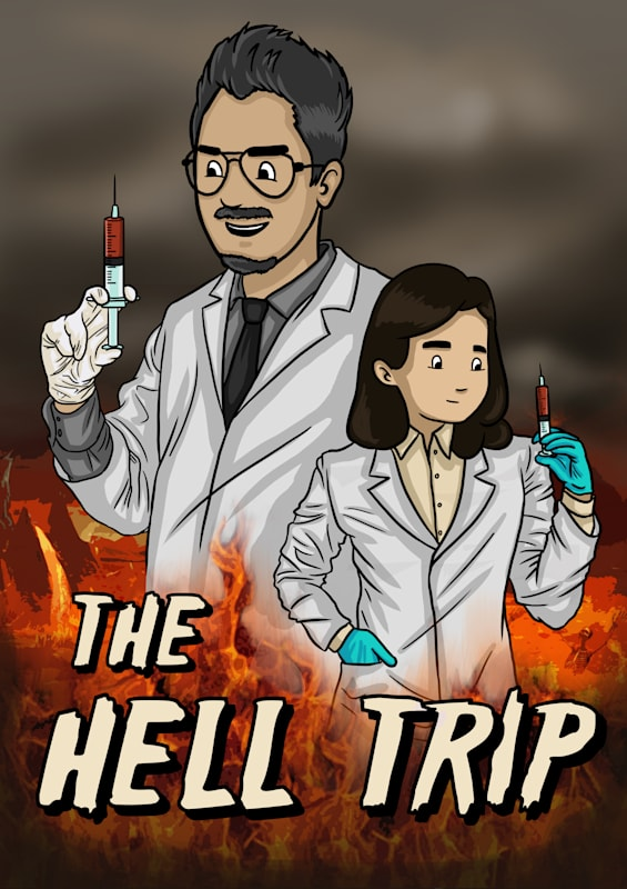 The Hell Trip, a book that questions why good people create hell. This is the cover of the book.